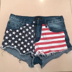 Fashion Nova Shorts - American Flag Denim Shorts
